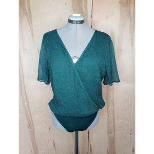 Abercrombie & Fitch Green Polka Dot Bodysuit Large